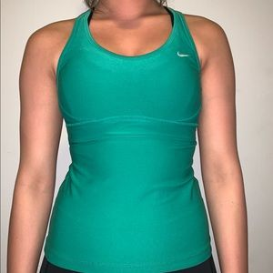 Green Nike Tank! BUILT IN SPORTS BRA!